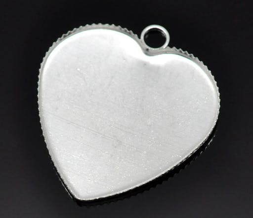 1 support cabochon Coeur N°05 Argent