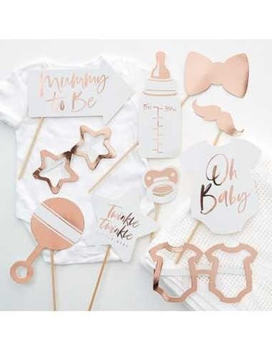 10 Accessoires Photobooth Baby Shower Rose Gold