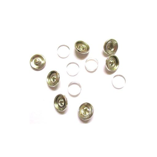 10 Supports Boutons pressions chunk et 10 cabochons en verre 10 mm