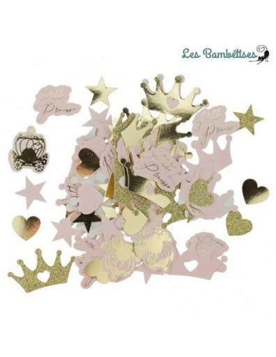 100 Confettis Princesse & Carrosse Rose et Or