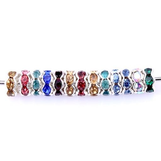 100 Perles intercalaire strass multicolore acrylique 8 mm