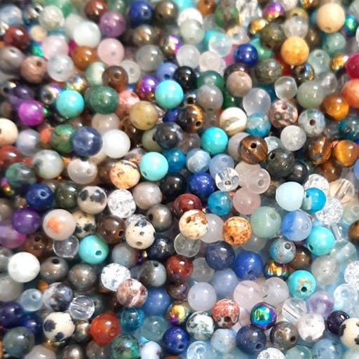 100 perles rondes Meli Melo Mix de pierres fines 6mm
