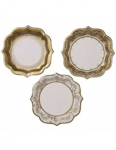 12 Assiettes Dessin Porcelaine de Chine Blanc et Or