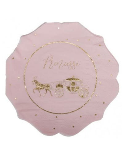 16 Serviettes Princesse et Carrosse Rose et Or
