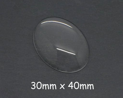 2 Cabochons verre ovale 40x30mm