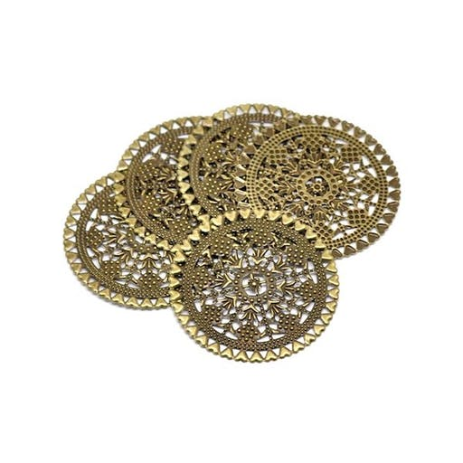 20 Estampes filigranées - Diamètre 60 mm - Couleur bronze