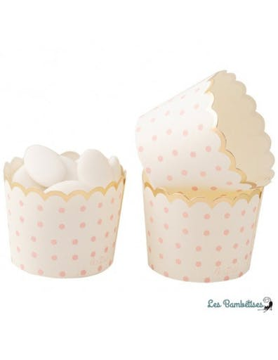 20 Petites Coupes Cupcakes Ivoires Pois Roses