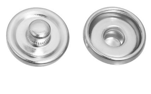 20 Supports Boutons pressions chunk argenté 12 mm