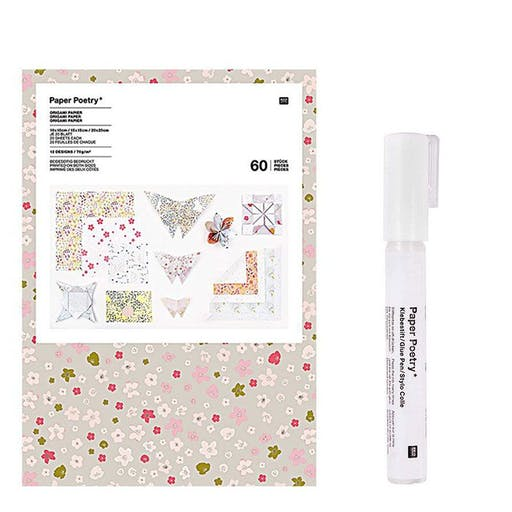 200 feuilles pour origami Basic + Stylo colle