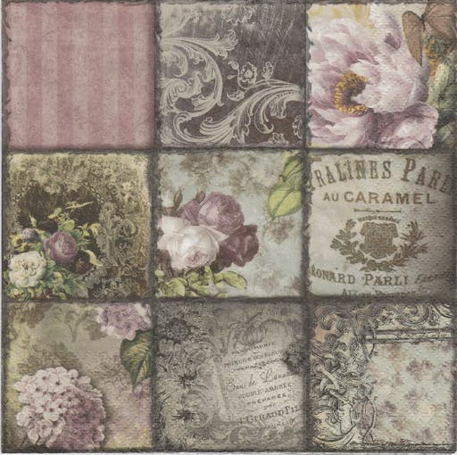 4 Serviettes en papier Collage Vintage Paris Format Lunch Decoupage Decopatch 373432 Ti-Flair