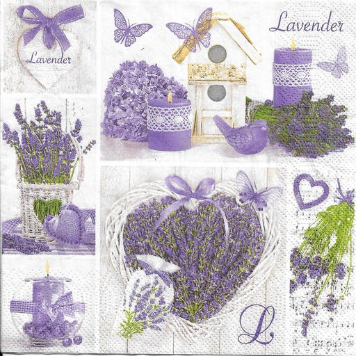 4 Serviettes en papier Décor Lavande Format Lunch Collage Decopatch SDOG-025901 Pol-Mak