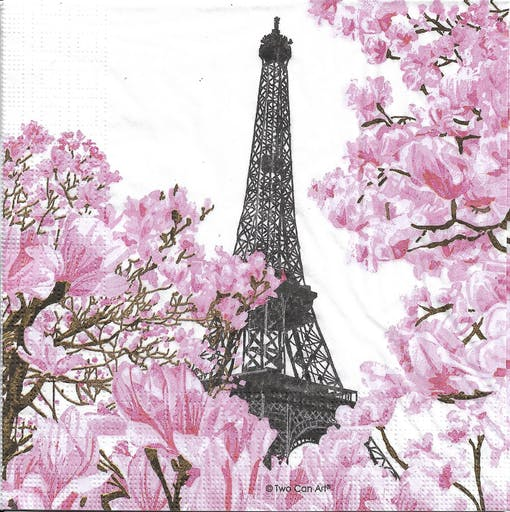 4 Serviettes en papier Paris en Avril Tour Eiffel Format Lunch Decoupage Decopatch 133-3948 PPD