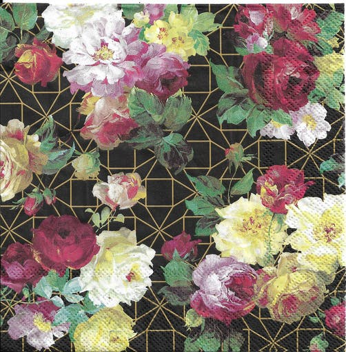 4 Serviettes en papier Rose Vintage Format Lunch Decoupage Decopatch L-906479 IHR