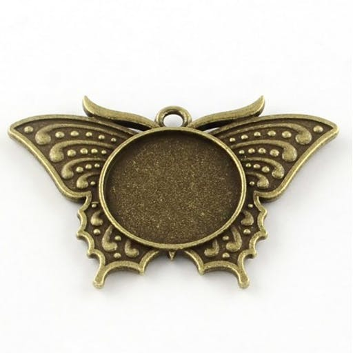 4 supports cabochon papillon bronze 49,5x33,5mm