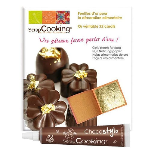 5 feuilles d'or comestible 22 carats + 1 Stylo chocolat offert
