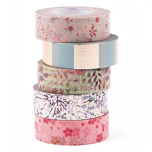 5 masking tapes 1,5 cm x 10 m - Bouquet floral sauvage