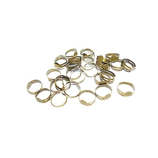 50 Bagues supports plateau 8 mm pour collage Fimo bronze