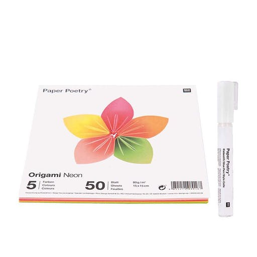 50 feuilles pour origami Fluo + Stylo colle