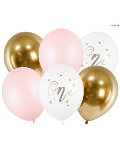 6 Ballons Roses et Or Anniversaire 1 An