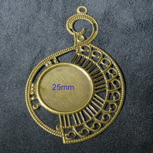 6 estampes pendentif support cabochon   bronze 80x49mm