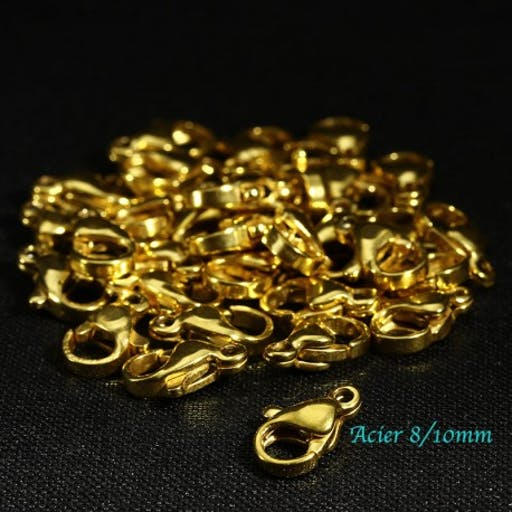 6 fermoirs mousquetons acier inoxydable or 8/10mm