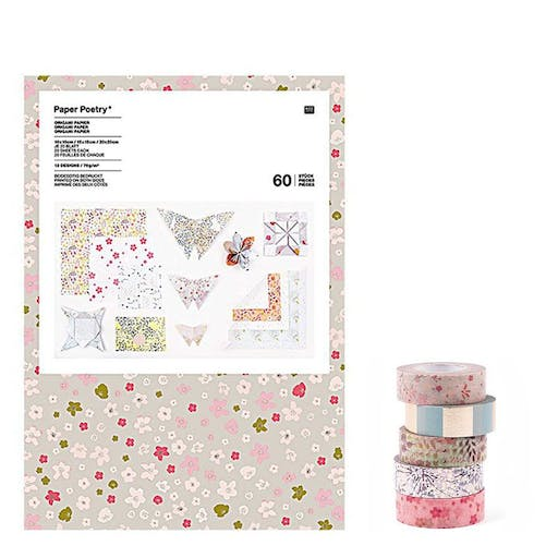 60 feuilles pour origami + 5 masking tapes 10 m - Bouquet floral sauvage