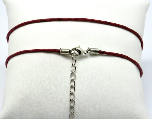 Collier coton ciré Fermoir mousqueton bordeaux