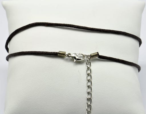 Collier coton ciré Fermoir mousqueton marron