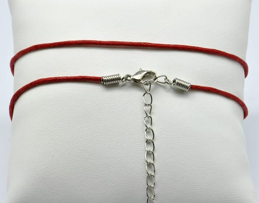 Collier coton ciré Fermoir mousqueton rouge