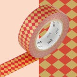 Masking Tape MT 1,5 cm Carreaux rouge et or