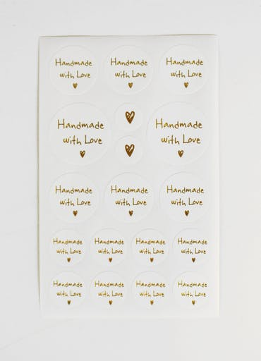 Stickers rond Handmade with love 2 à 5 cm 72 pièces