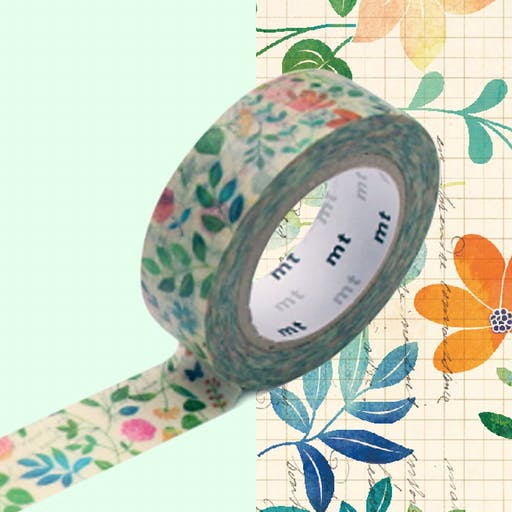 Masking Tape MT EX fleurs sur papier - watercolor flower