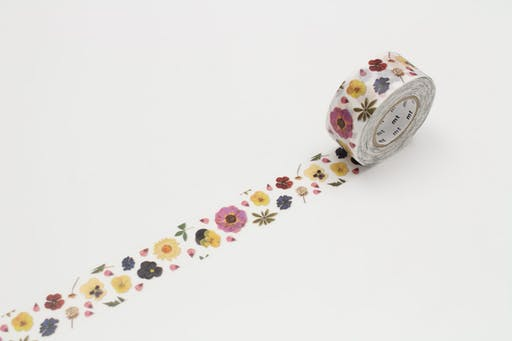 Masking Tape MT 2,5 cm PACK floral - pressed flower