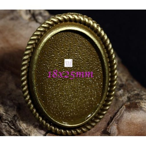 bague support cabochon ovale bronze 18x25mm