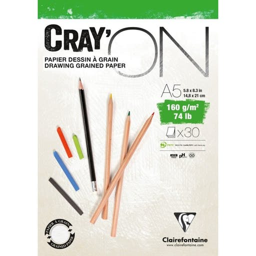 BLOC CRAY'ON A5 - 30 FEUILLES - 160G - CLAIREFONTAINE