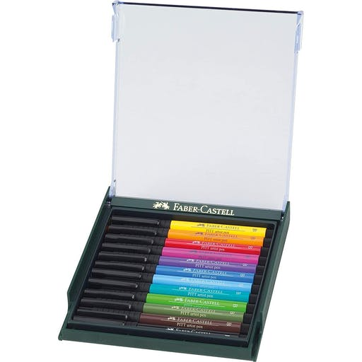 BOX DE 12 PITT ARTIST PEN FEUTRE POINTE PINCEAU 12 COULEUR BRIGHT