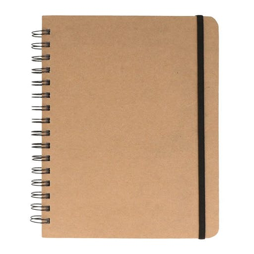 Carnet de notes kraft quadrillé avec spirales