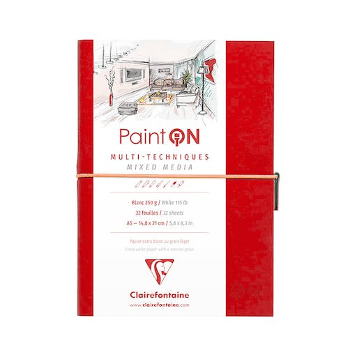 CARNET PAINT ON MIXED MEDIA A5 - 64 PAGES - 250G - ROUGE - CLAIREFONTAINE