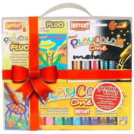 Coffret 24 stylos gouache solide Playcolor Basic-Metal-Fluo + 3 gravures à colorier