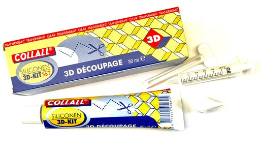 Colle x 1 tube, Kit Collall colle 3D, transparente, silicone 80ml