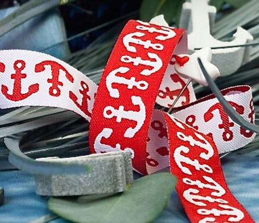 Colormix anchor woven ribbon red from 1m