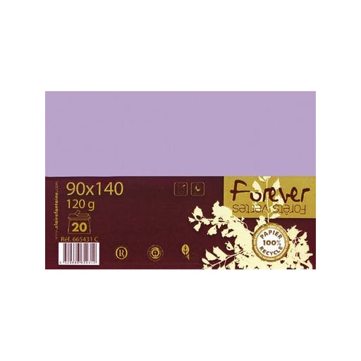 Enveloppes recyclées 110x220 Forever x20 Lilas 120g