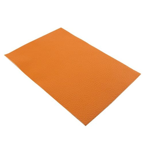 Feuille de cuir véritable 18.4 x 21 cm orange