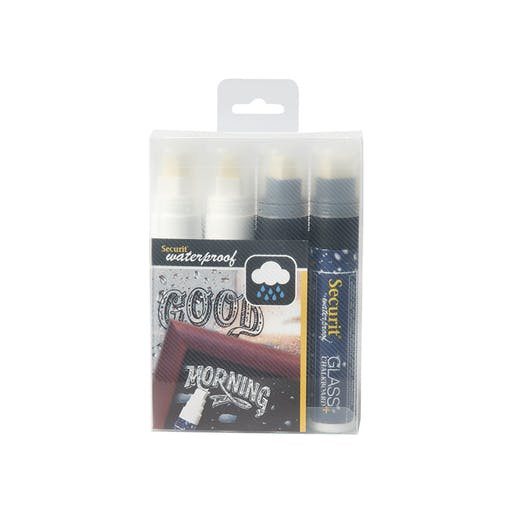 Feutre-craie Waterproof Blanc et noir  lot de 4 - pointe large 7-15mm