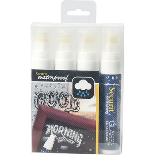 Feutre-craie Waterproof Blanc lot de 4 - pointe large 7-15mm