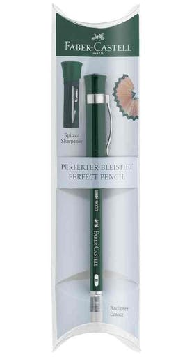 KIT CRAYON CASTELL 9000 PERFECT PENCIL + GOMME + CAPUCHON TAILLE-CRAYON B VERT