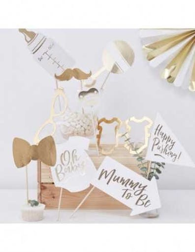Kit Photobooth Baby Shower Blanc et Or