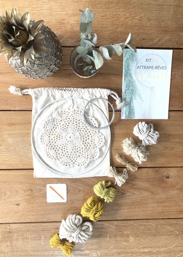 Kit DIY Attrape-Rêves Moutarde et Beige