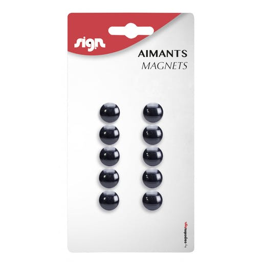 LOT DE 10 AIMANTS RONDS DIAMÈTRE DE 12 MM - NOIR - SIGN