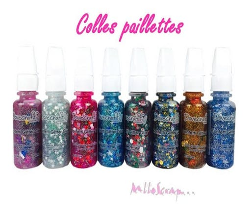 Lot de 8 colles pailletées confettis brillantes scrapbooking carterie